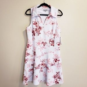 Signature by robbie bee floral pink white dress